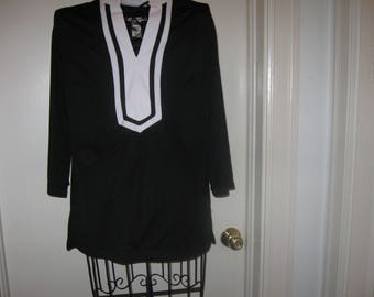 Covington Black And White Women's Shirt With 3/4 Length Sleeves Size Small