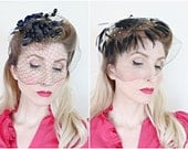 Vintage 1950s Veil / 50s birdcage veil / Black veil / Berries and Feathers / Lot of 2 veils