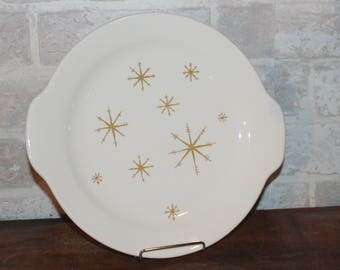 Star Glow handled cake plate by Royal China, mid century Christmas and Winter dinnerware