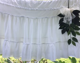 "White Twin Bed Skirt // White Dust Ruffle // Shabby Chic Style Dust Ruffle, Bedskirt, 20"" long drop // Ruffled Lace Bedkirt, Narrow 31""wide"