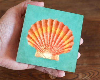 Scallop shell art, shell painting, 4x4, coastal gifts, nautical gifts, beach gifts, tropical art, coastal art, beachy art, home decor