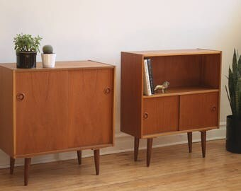 Pair of Small Mid Century Danish Modern Teak Cabinets