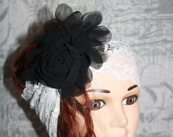 large, white, elastic lace headband