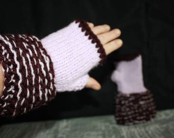 fingerless gloves Burgundy and purple size 6/7