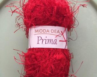 Red Eyelash Yarn, Moda Dea Prima Red Yarn, Yarn Destash