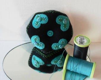 Handmade Baby Biscornu Pincushion Felted Wool Teal Hearts on a Black Biscornu Pincushion