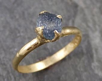 Raw Sapphire montana sapphire 18k yellow Gold Engagement Ring Blue Wedding Ring Custom Gemstone Ring Solitaire Ring byAngeline 1041