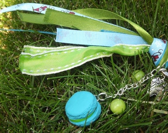 Green Blue polymer clay keychain
