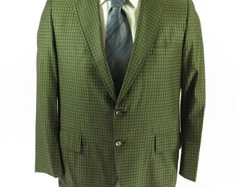 Vintage 60s Hart Schaffner Marx Sport Coat Mens 40 Stripe 2 Button Union Made [H69M_1-10]