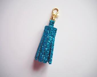 Aqua Blue Glitter Tassel Keyring, Aqua Glitter Keychain, Sparkly Blue Keyrings, Tassel Keychain, Sparkly Blue Tassels, Blue Glitter Keyring,