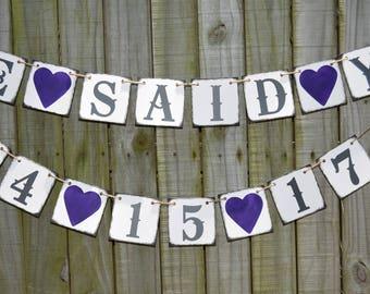 She Said Yes - Customized wedding  Bridal Shower Banner - Wedding Banner -  Silver Wedding Engagement Party Decoration - Photo Prop