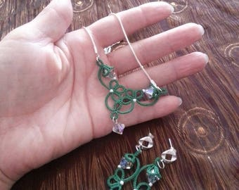 Set (necklace and Earrings) lace tatting, embellished with Swarovski crystals