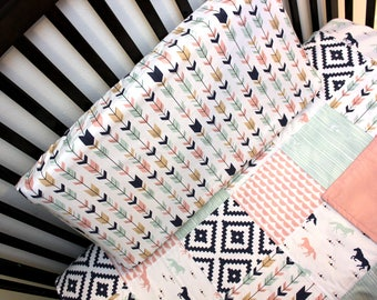 Baby Toddler Patchwork Baby Quilt & Fitted Sheet, Girl Crib Set, Horse Baby Bedding, Girl Crib Bedding, Horse Crib Set, Pink Navy Crib Quilt