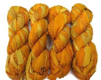 SALE New! Premium  Iridescent Sari Silk  Ribbon yarn , 100g (50 yards) color Sun