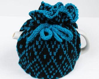 Knitted Teapot Cozy Teal and Black Scandinavian Fair Isle Design Tea cosie