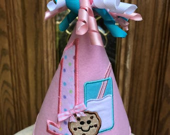 Girls First Birthday Hat - Milk And Cookies Theme
