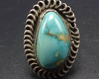 Vintage NAVAJO Sterling Silver & DAMELE TURQUOISE Ring, size 6.75, 6.1g