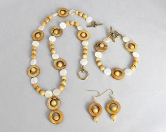 Amber Shell Donut 20mm, Natural Shell Disc 11.5mm, Rivershell Round 7mm, Amber Rhinestone Rondelle Necklace, Bracelet and Earring Set, Gift