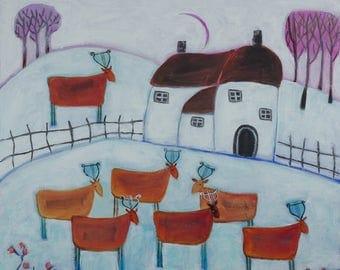 Winter Landscape, Naive Landscape, Countryside Artwork, Animal Art, Deer Painting, White Artwork, Snow Painting, Whimsical Art