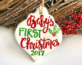 Baby's First Christmas ornament. Custom New Baby Ornament. Christmas Ornament for baby. Ready to ship or customizable. Hand Painted Ornament