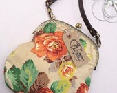 Orange Floral Pretty Antiquity Cotton Handbag with vintage chain strap shoulder purse crossbody cute handmade by The Emperors Old Clothes