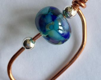 Handmade spinning hook, to Copper orifice hook for spinning wheelwith lampwork and sterling silver beads, handcrafted copper spinning hook