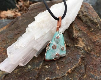 Wire-Wrapped Amazonite Pendant