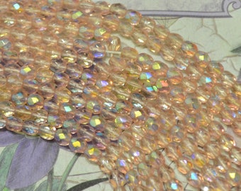 4mm rosaline pink AB faceted Czech glass beads strand new old stock  DIY Jewelry Making Altered Art