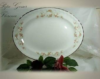 "Vintage 1940s & 1920s Pope Gosser 13 1/4"" Oval Serving Platter in Florence (Scalloped Edge) Pattern 3025, Pink Rose Garland"