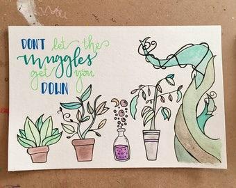 SALE Harry Potter Hebology Inspired Original Watercolor