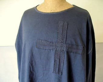Vintage, French long sleeved t-shirt, dyed inky blue, embellished with antique linen, hand stitched, 45 euro no. 4
