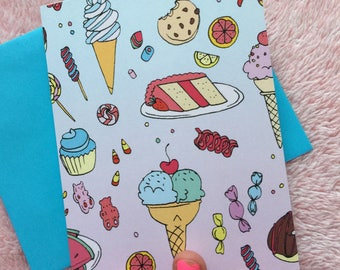 Sweet greeting card - candy and cake - Lovestruck Prints