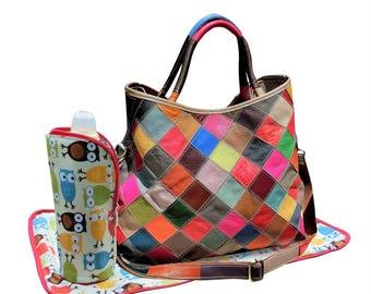 Leather Tote Diaper Bag,  Leather Cross Body Shoulder Diaper Bag, Changing Mat, Insulated Bottle Holder, Drawstring Sac, Stroller Straps