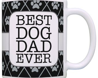 Cute Gift for Dog Lover Best Dog Dad Ever with Pawprint Background Mug - M11-3299