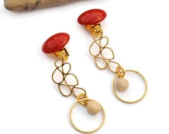 Long gold earrings, Clip on earrings, Long drop earrings, Orange earrings, Long statement earrings, Gold chandelier earrings, Gift for her