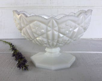 Toltec Milk Glass by Kemple Milk Glass Oval Footed Bowl Serving bowl Vintage milk glass pedestal bowl Pres Cut Prescut Mid century glassware