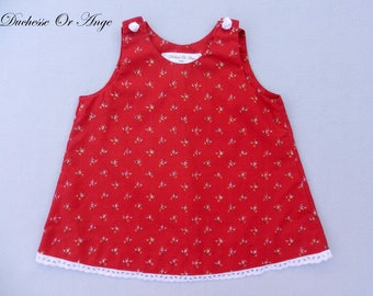 Baby red floral cotton trapeze dress buttons in the shape of roses - 6 months