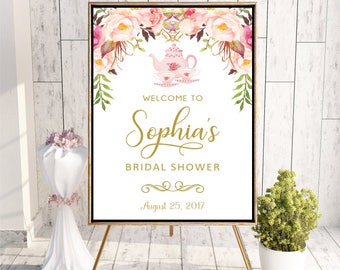 Welcome to Tea Party Bridal Shower sign Printable Digital Personalized Floral Baby Shower Sign Boho Watercolor Flowers DIGITAL FILES, WS19
