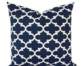 15% OFF SALE Two OUTDOOR Pillows - Navy White Pillow Cover - Navy Throw Pillow Cover - Navy Euro Sham - Blue Quatrefoil Pillow - Decorative