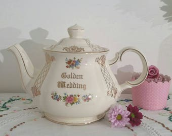 Vintage Sadler Teapot from the 1930's with beautiful rose design to celebrate a golden wedding.