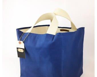 Azure Canvas Grocery Tote - Large Shopping Bag, Market Tote