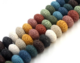 Lava Rondelle Beads, 10x15mm Gemstone Beads, Rock Lave Beads Wholesale 15''