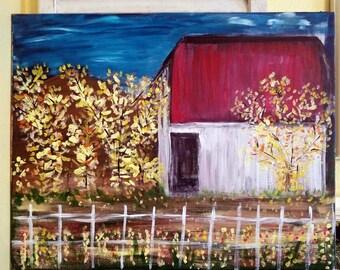 Fall Barn Painting