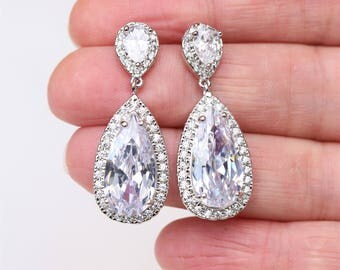 Art Deco Earrings,  Bridal Earrings, Wedding Earrings,Bridesmaid Earrings, Bridal  Jewelry, Crystal Teardrop Earrings, Wedding Jewelry, UK
