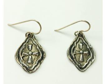 Medieval sterling silver metal clay earrings