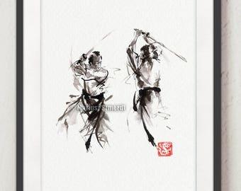Samurai,Soul of Bushido, Ronin, Samurai Warrior, Sword Fight, Samurai Sword, Ink Painting, Abstract Art, Calligraphy