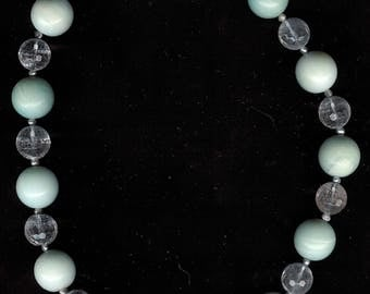 Crystal Ball - Amazonite, Rock Quartz, Freshwater Pearls, Sterling Silver Necklace OOAK Statement Jewelry