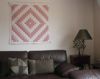 Patchwork square, decorative or pink and white plaid