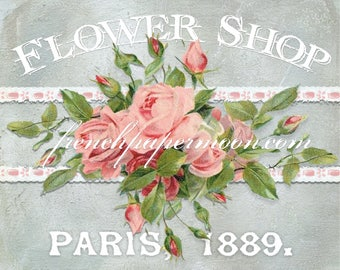 Digital Flower Shop Printable, Shabby Roses, Paris, French Pillow Transfer Image, Flower Shop Graphic Transfer, Download