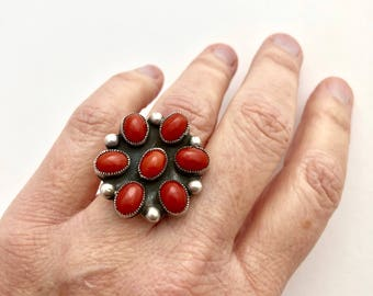 Vintage Navajo Red Mediterranean Coral and Silver Multistone Ring, sz 6 1/2, Native American Jewelry